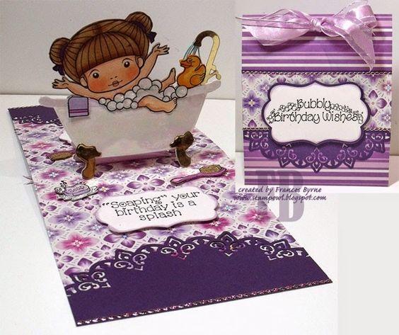 Frances Byrne using the Pop it Ups Bathtub Pop Stand, Katie Labels and Paris Edges dies by Karen Burniston for Elizabeth Craft Designs - Soaping Your Birthday is a Splash