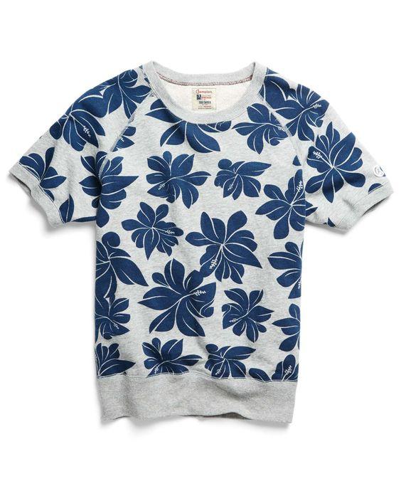 Floral Print Short Sleeve Sweatshirt in Grey Chrome