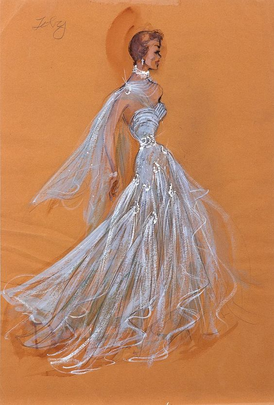 EDITH HEAD COSTUME SKETCH FOR JANE WYMAN FROM LUCY GALLANT - (Paramount, 1955)