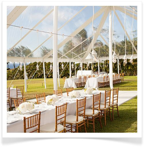 6. Open-Air Tents. The best way to have a seemingly outdoor wedding without worrying about the weather is by setting up a dramatic open-air tent. It will allow you the flexibility of celebrating outside, come rain or shine.