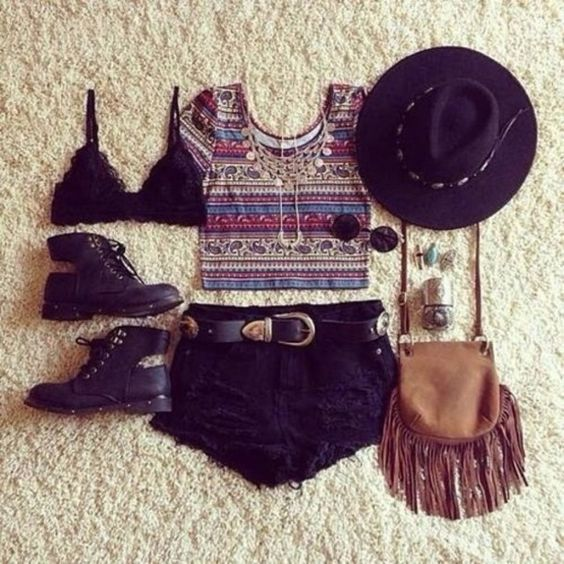 top tank top bag fringed bag hat sunglasses summer outfits boho shoes boots bracelets ring lace bra summer festival t-shirt necklace jewels underwear shorts Belt shirt crop tops black hat black shorts bralette crop tops glasses summer outfits cute aztec style fashion crop tops