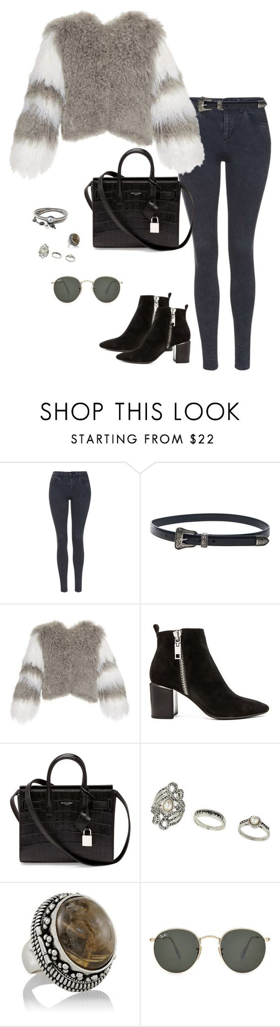 """""""Untitled #2206"""" by andreagm ❤ liked on Polyvore featuring Topshop, Yves Saint Laurent, Charlotte Simone, Dolce Vita, Ray-Ban, Colana, women's clothing, women, female and woman"""