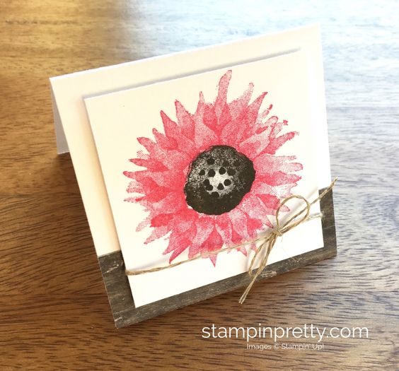 Stampin Up Painted Harvest 3 x 3 Note Card in Wood Crate Die Idea - Mary Fish StampinUp