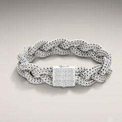 CLASSIC CHAIN COLLECTION Medium Braided Bracelet with Diamond Pave. All in Sterling Silver. | follow me on pinterest @jennbee22 and check out my fashion blog http://fashionsheriffjennbee.blogspot.com/