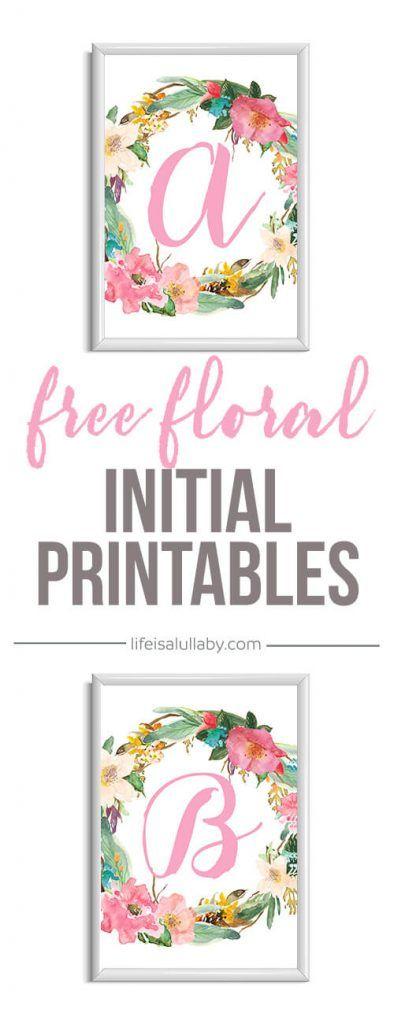 Free Initial Nursery Printable  Nursery Letters Lettering Art