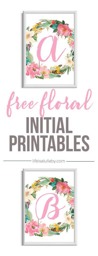 Free printables - flower initials - great for a floral nursery or bedroom!