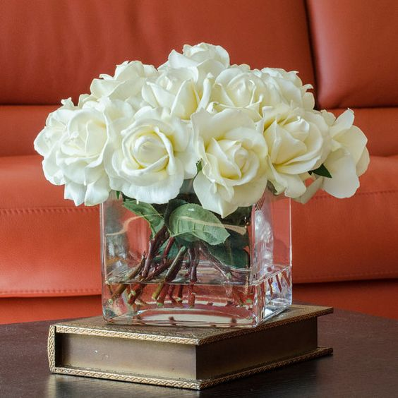 White real touch rose arrangement with square glass vase