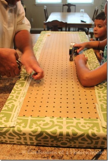 DIY Custom Bench Cushion for Hearth. Would be so much easier to make with a pegboard!