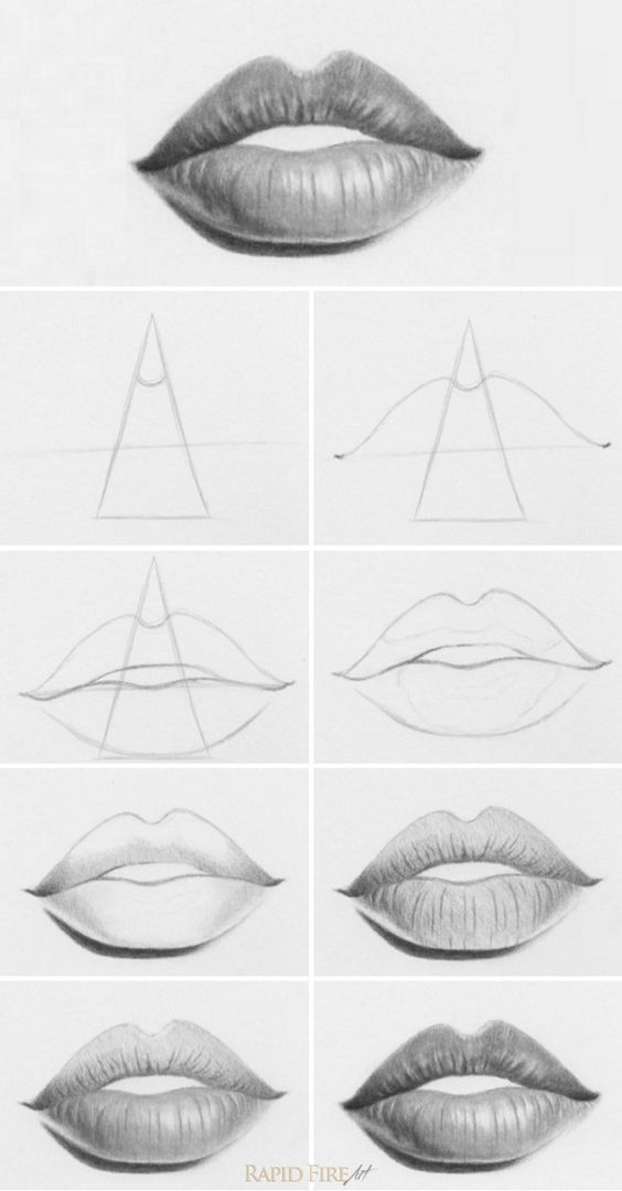 how to draw lips and mouth