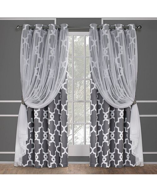 Exclusive Home Alegra Layered Geometric Blackout And Sheer Grommet