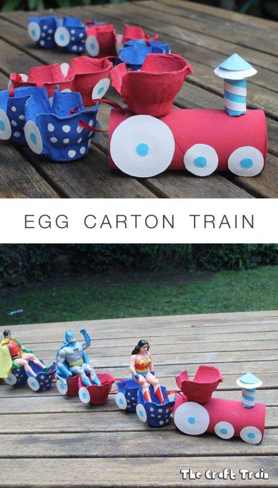 Egg Carton Train recycling craft for kids: