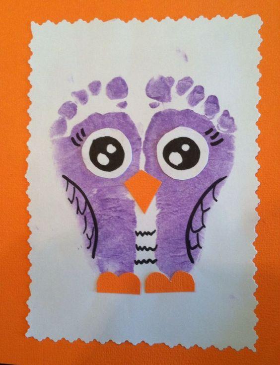 tapa álbum escolar búho. Dibujar búho con pintura de pies
