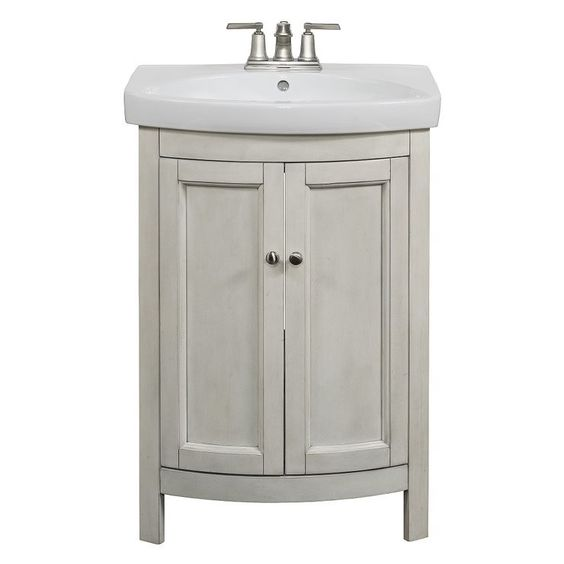 Allen Roth Moravia Antique White Integral Bathroom Vanity With Vitreous China Top 24 In X 18