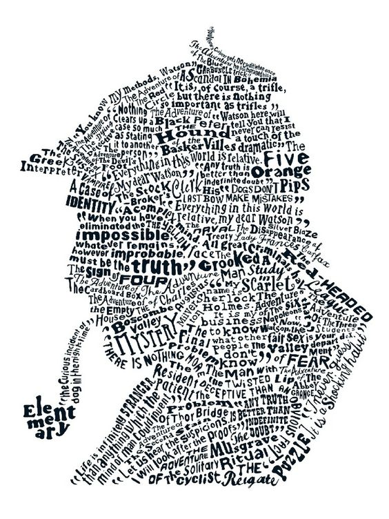 ARTFINDER: A STUDY IN SHERLOCK (White) by Dex - A limited edition fine art print of a typographical silhouette including deer-stalker hat, celebrating the wit and crime-busting wizardry of super sleuth She...