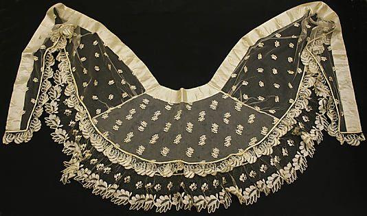 Fichu  Date: ca. 1830 Culture: French Medium: cotton, silk