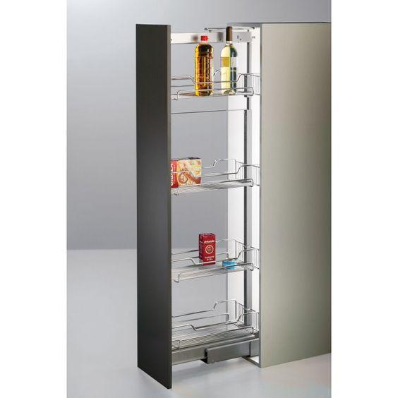 Columna despensero extra ble con freno para armarios de for Armario despensa cocina