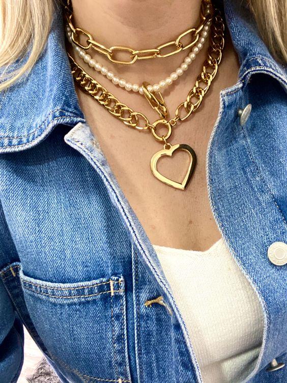 Colares elos dourado curto + pérolas mosquetão S dourado + Heart dourado