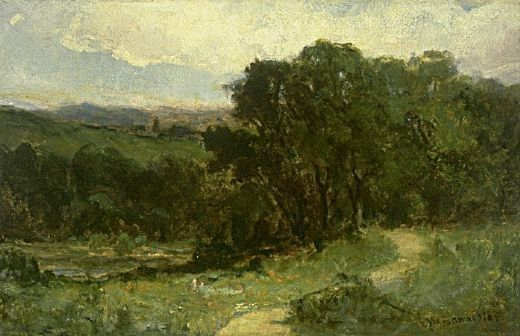 edward mitchell bannister landscape with road near stream and ...