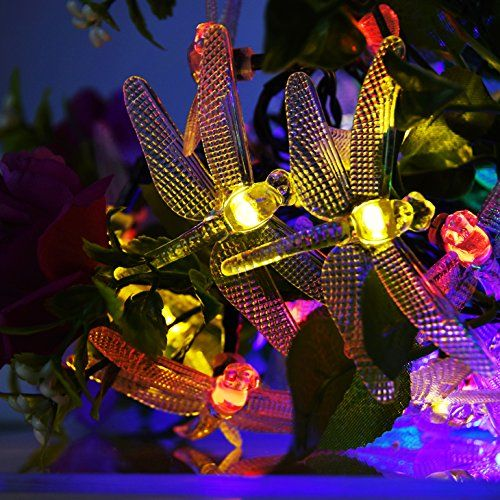 LED Solar String Lights, isightguard 30 LED Waterproof Dragonfly - solar christmas decorations