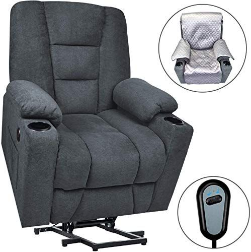 New Maxxprime Upgraded Electric Power Lift Recliner Chair Sofa Elderly Extra Wide Comfortable Premium Thickened Fabric 3 Positions 2 Side Pockets Cup H In 2020 Recliner Chair Lift Recliners Sofa Chair