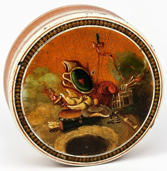 Antique 1700s French Snuff Box, Vernis Martin & Miniature Painting of Love Symbols, Doves
