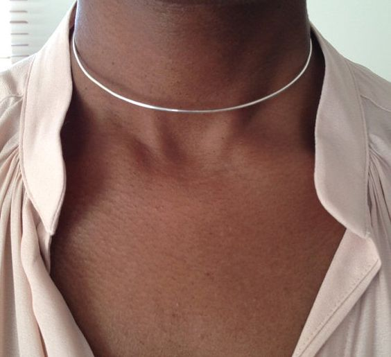 Sterling Silver Choker Necklace Collar Necklace by PABJewellery