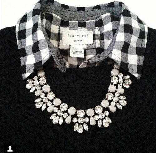 black sweater with black & white checked collar shirt & necklace