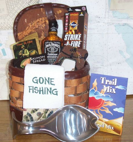 Fishing themed basket gift basket for him gift for him dad for Fishing gifts for him