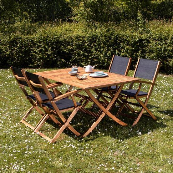 Salon de jardin en bois d\'acacia FSC noir 4 places HANOÏ ...