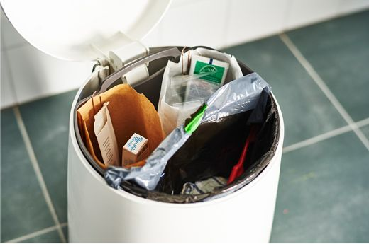 Divide your bathroom trash can into three sections: one for paper, one for plastic, one for non-recyclable trash.