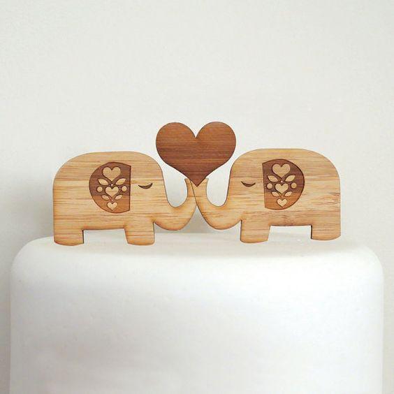Niedliche Elefanten Cake Topper  Bambus  Hochzeitstorte von Cabin