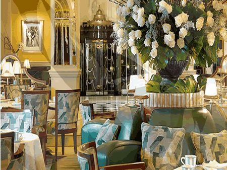 Claridges, London. I stayed once. The lobby bar is somewhere I have enjoyed afternoon teas served on tiered plates and repaired to an armchair afterwards with a gin & tonic.