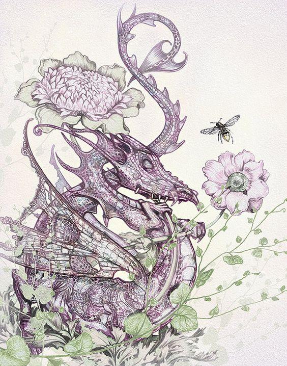 Träumen von Dragon Kunstdruck - Dragon Fantasy-Wand-Kunstdruck - lila - grün - Creme - Blätter - Childrens-Kunstdruck auf Etsy, 5,95€
