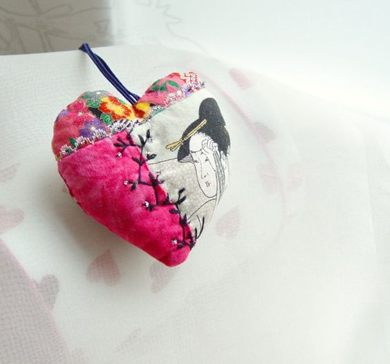 Valentine crazy textile heart ornament in Japanese style