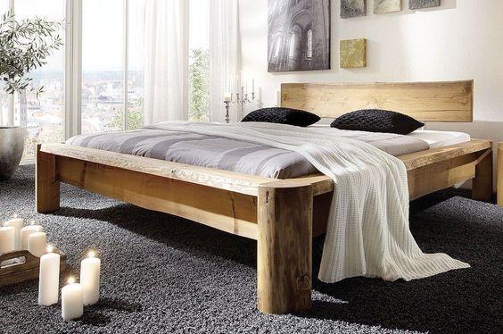 Vollholz Doppelbett Bettgestell Balkenbett 180x200 bett Kiefer massiv holz antik | eBay