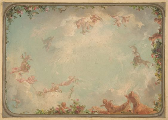 Jules-Edmond-Charles Lachaise | Design for a ceiling painted with putti in clouds with roses | The Met