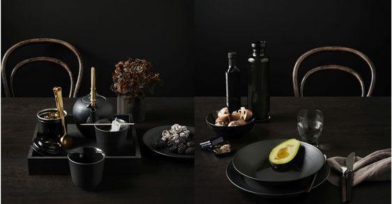 Royal Copenhagen Geschirr gerippt in blau und schwarz läutet ein neues Geschirr…