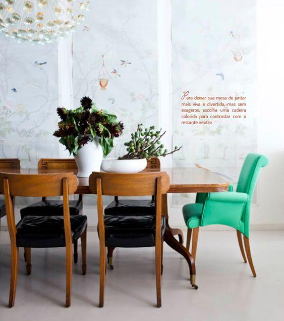 Decoração de Sala de jantar; Cadeira estofada verde; Casa de Valentina