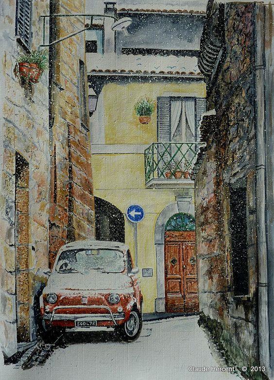 Aquarelle représentant un paysage urbain d'Italie enneigé avec une Fiat 500. format A3. Plusieurs reproductions sont en vente sur Esty : Watercolor representing an old Cinquecento Fiat under snow in Italy. Some reproductions are for sale (A3 size) on...