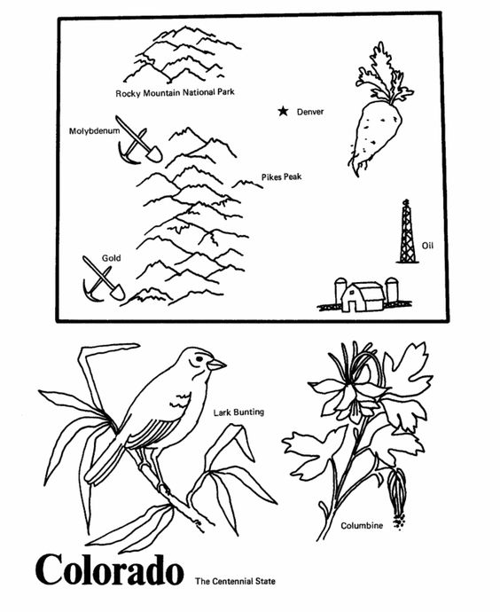 colorado state outline coloring page cc cycle 3 week 8 pinterest coloring  state outline Mountain Coloring Pages  Colorado Coloring Pages