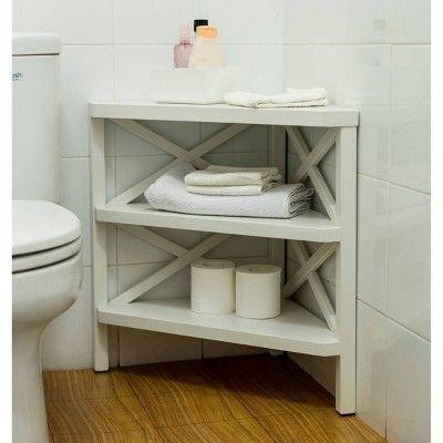 Owings Corner White Threshold In 2020 Bathroom Corner Storage Small Bathroom Layout Small Bathroom Table