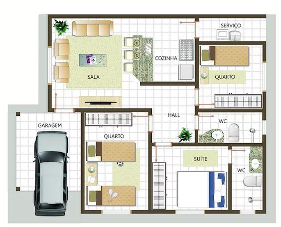 Plantas de casas com 3 quartos modelos gr tis google for Modelos de casa pequenas para construir