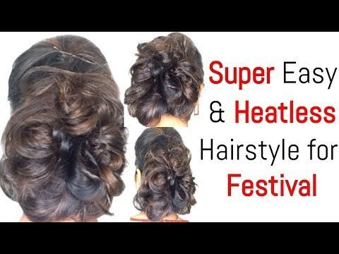 Hairstyles For Dussehra Durga Puja Navratri Indian Hairstyles For Medium H Payal Hairstyl In 2020 Indian Hairstyles Medium Hair Styles Heatless Hairstyles