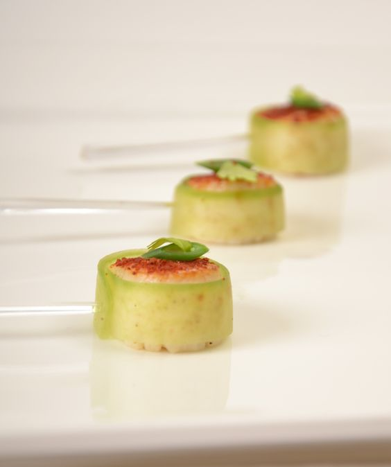Cucumber wrap scallop culinarycapers canape horsdoeuvre for Catering canape