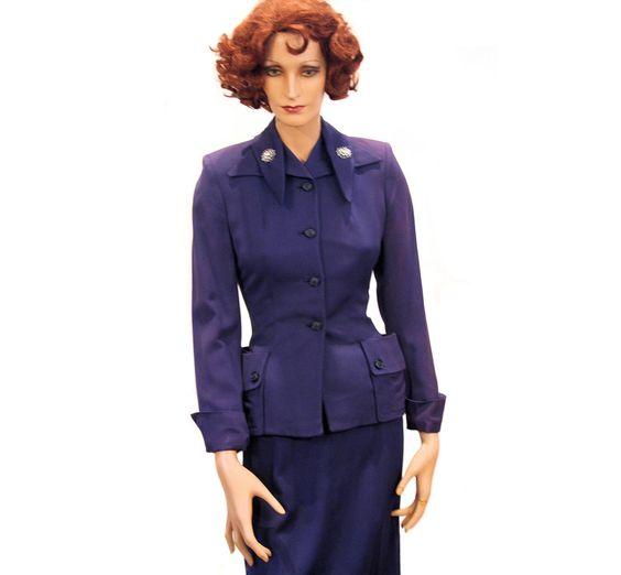 1940s Plum Purple Gabardine Skirt Suit XS