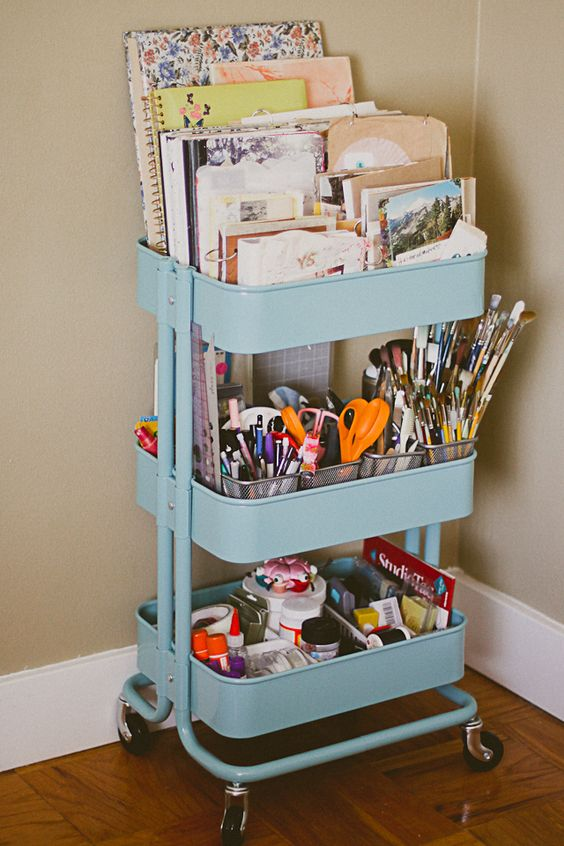Arts supplies (your kids or yours) won't take over your whole house if you provide a compact vessel for them. This three-tiered kitchen cart (from IKEA) stops your collection from growing exponentially, and looks surprisingly cute even when stuffed with paints and papers. See more at I Just Might Explode »  - WomansDay.com