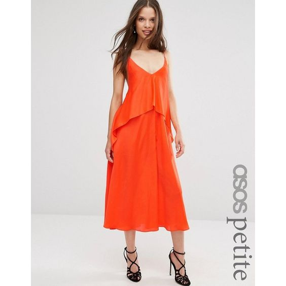 ASOS PETITE Tiered Crop Cami Midi Dress ($69) ❤ liked on Polyvore featuring dresses, orange, petite, v neck cami, plunging v neck dress, midi dress, v-neck dresses and plunging back dress
