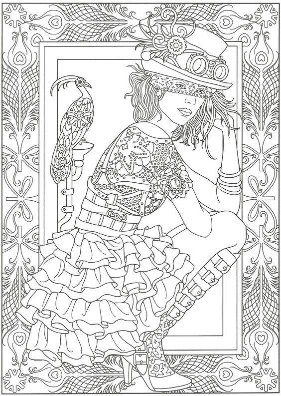 Steampunk. Artwork by Marty Noble. Adult Coloring Page. From Creative Haven Steampunk Fashions Coloring Book, Dover Publications.
