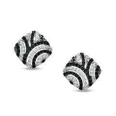 1/2 CT. T.W. Enhanced Black and White Diamond Retro-Style Earrings in Sterling Silver