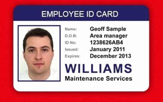 Employee Identification Card Template Luxury Id Card Templates Word Excel Samples Employee Id Card Id Card Template Create Business Cards